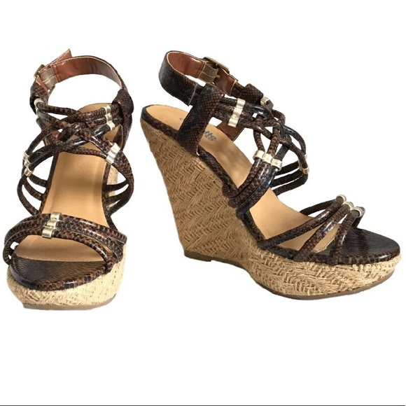 Charlotte Russe Brown and Gold Snakeskin Wedges